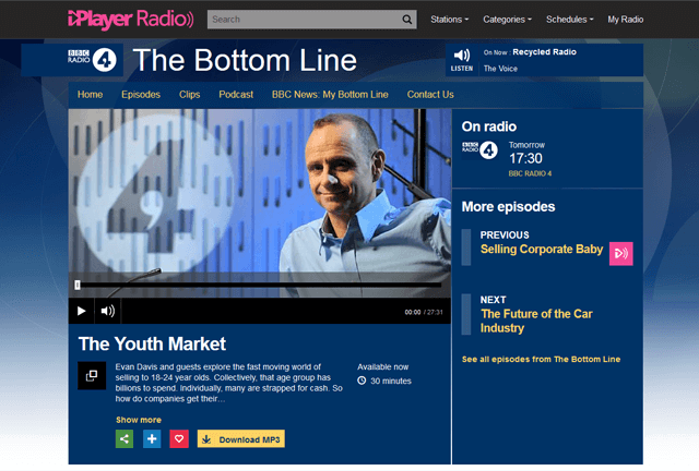 BBC Radio 4, The Bottom Line with YouthSight director Josephine Hansom