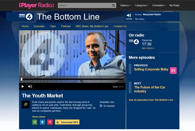 BBC Radio 4, The Bottom Line with YouthSight director Josephine Hansom